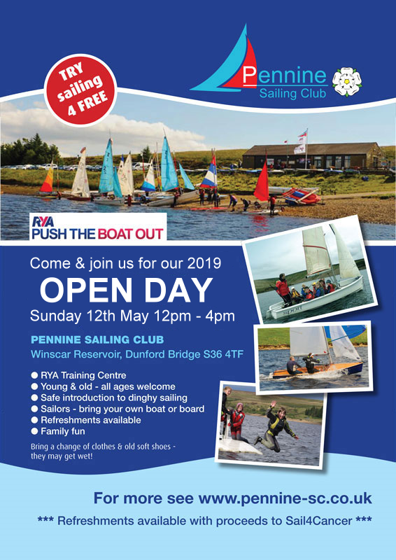 Poster for Pennine Sailing Club Open Day